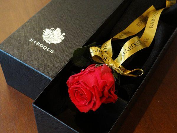 BAROQUE BOX「1」(プリザーブドのバラ一輪入り) | レッド